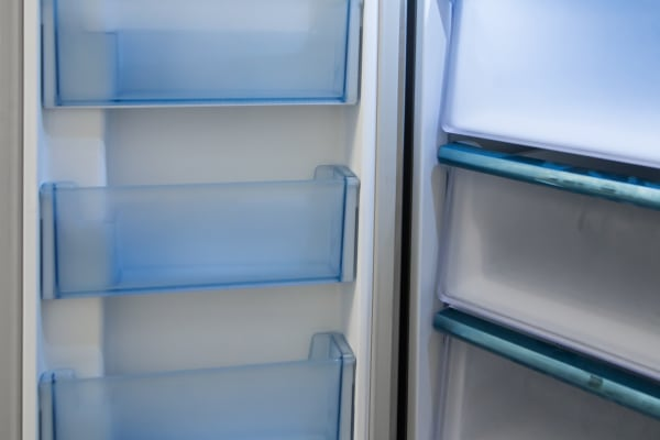 Frosted plastic shelves on each freezer door are a nice touch.
