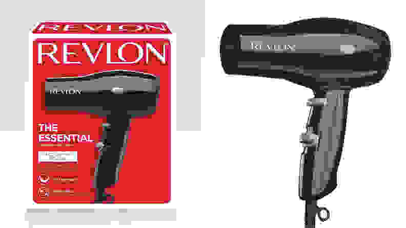 On the left: A red Revlon hair dryer box. On the right: A black compact hair dryer from Revlon.