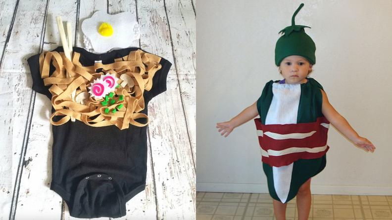 Child's ramen Halloween costume. On right, child dressed as jalapeño popper Halloween costume.