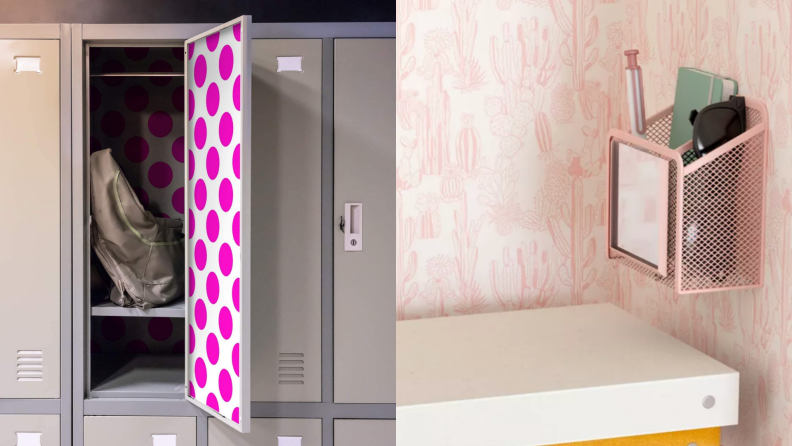 On left, locker with pink and white polka-dot pattern. On right, pink and white boho cactus wallpaper in locker with books.