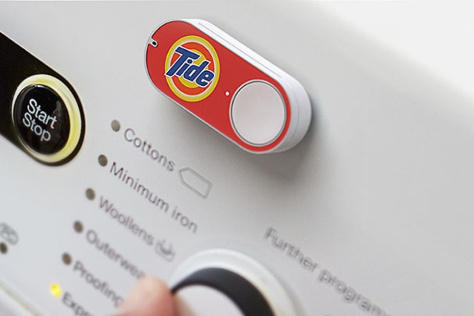 A Tide detergent Amazon Dash button on a washer