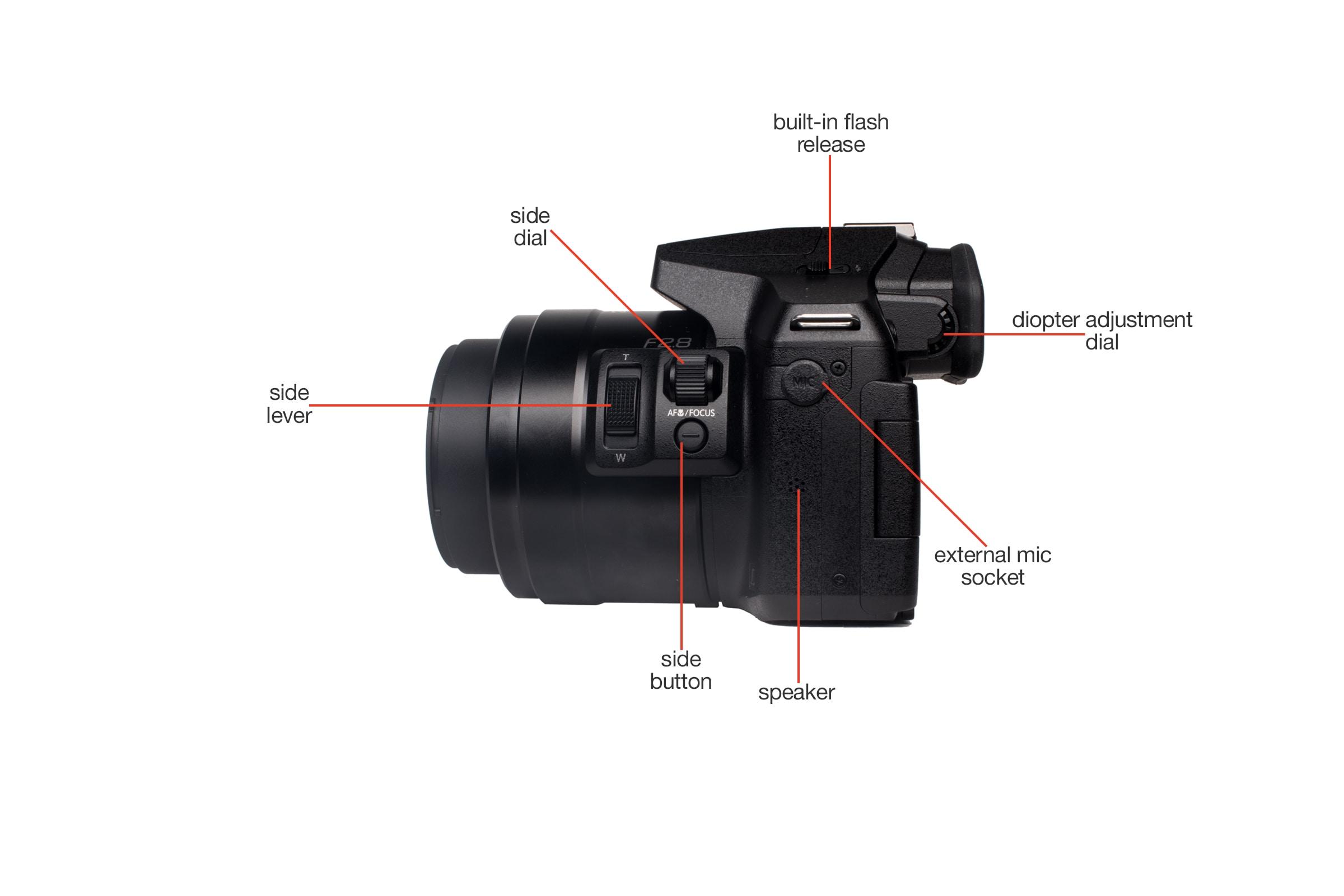 Left view of the Panasonic Lumix DMC-FZ300.