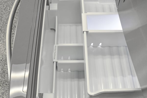The Whirlpool WRF757SDEM's pullout freezer is zoned off for easier frozen food organization.