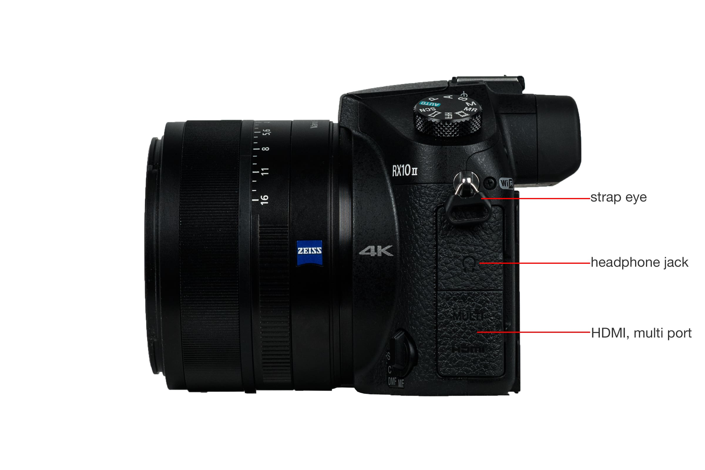 Left side view of the Sony Cyber-Shot RX10 II.