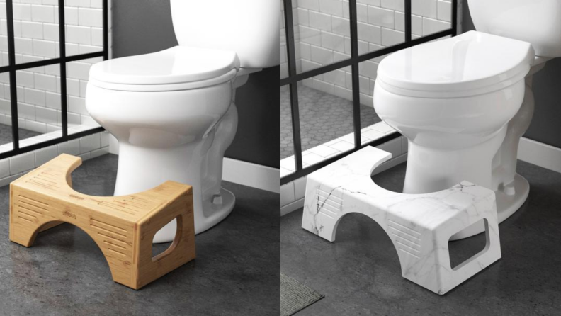 On right, tan Bamboo Flip Squatty Potty in front of toilet in bathroom. On right, black and white Carrara marble Squatty Potty in front of toilet in bathroom.