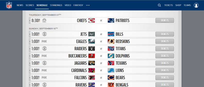 Week 1 NFL Schedule