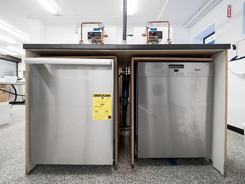Two dishwasher testing stations.