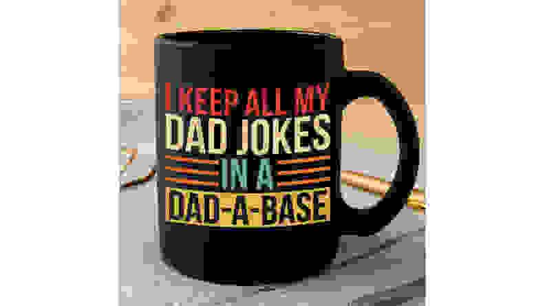 Black mug that says