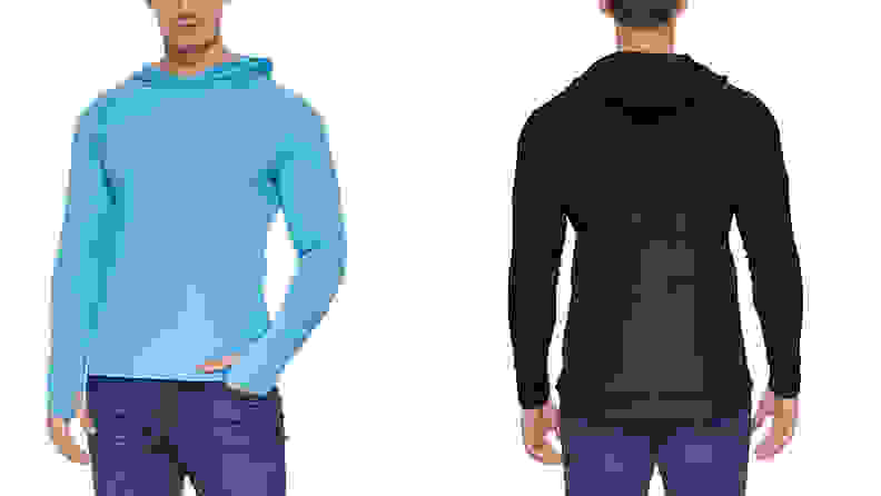 Man wearing baleaf UPF hoodie