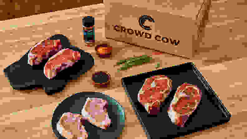 Crowd cow meats on table