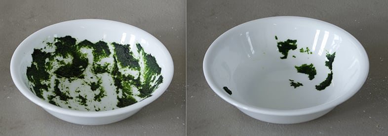 A stained dish before and after a dishwasher cleaning cycle.