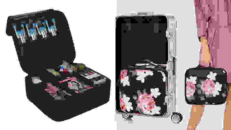 On the left: The square, black Relavel cosmetic bag sitting with the lid propped open to show cosmetics inside the compartments. On the right: A person holding the Relavel cosmetic bag. A open suitcase stands next to them and has a cosmetic bag inside of it.