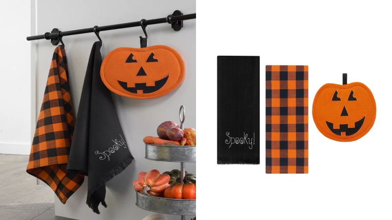 An image of two dishtowels and a pot holder hanging from a rod, alongside an image of the three items laid on a white background.