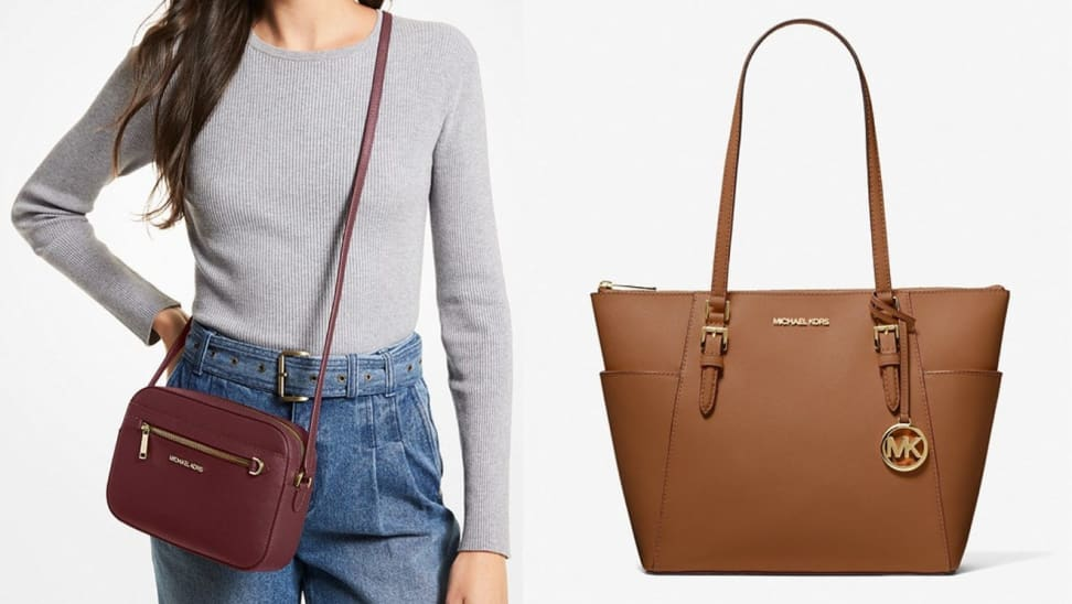 On right, person wearing burgundy leather crossbody bag. On right, tan tote purse.
