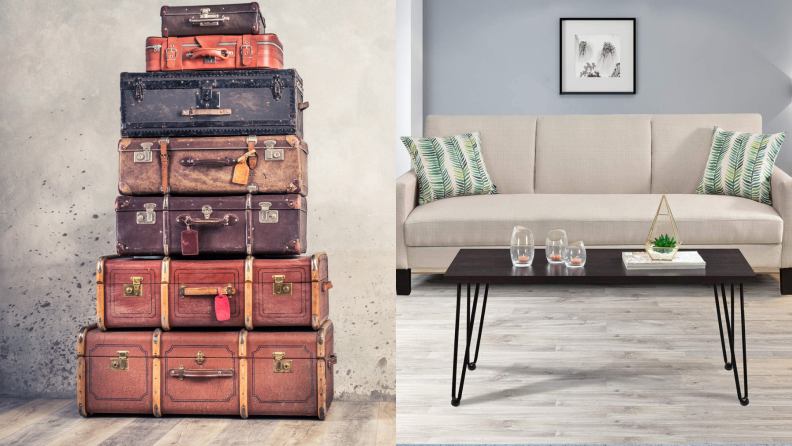 On left, seven vintage trunks stacked on top of each other. On right, coffee table with hairpin legs in modern styled living room.