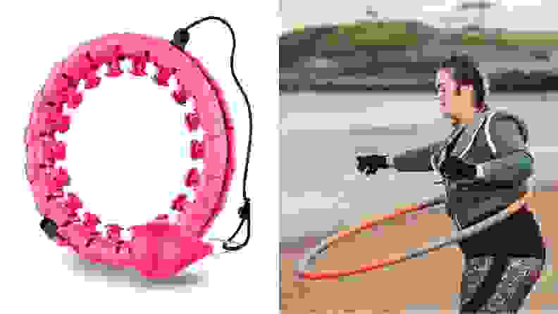 An image of a smart weighted hula hoop and a woman hula hooping on the beach.