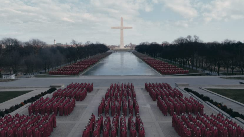 A still from 'The Handmaid's Tale' featuring the Handmaids of Gilead.