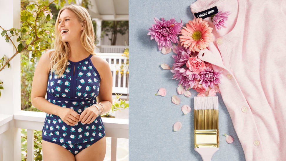 Woman in swimsuit; cardigan next to paintbrush