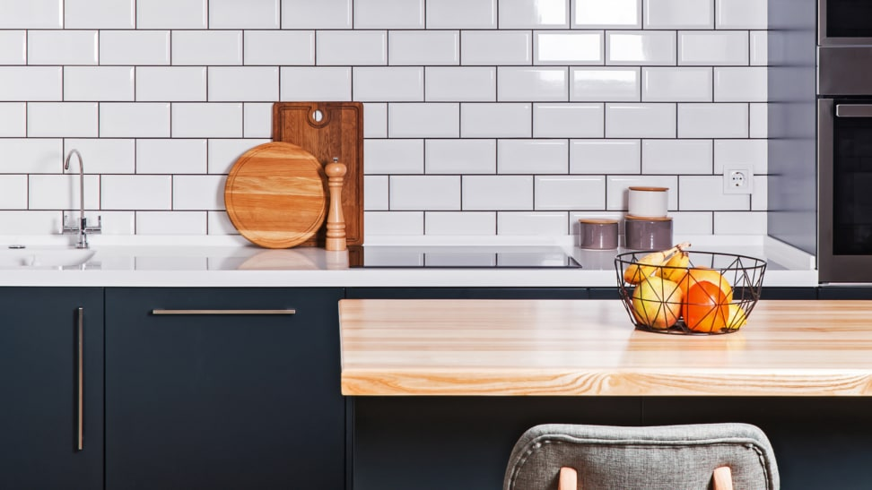 Wood, white, and blue kitchen cabinets: Mix it all up!