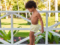 Little boy wearing swim trunks and standing on a railing