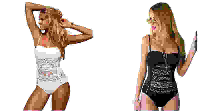 Lookbook Store Women's Crochet Lace Halter Swimsuit