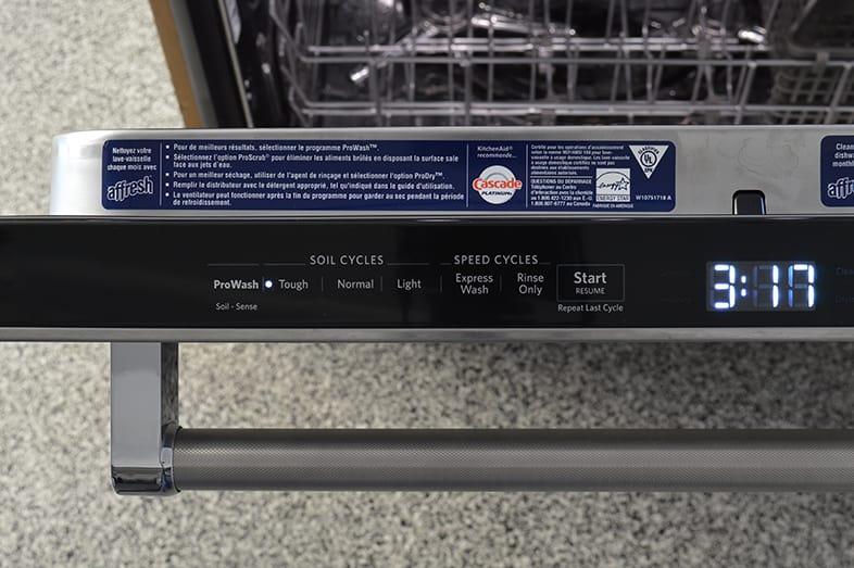 Dishwasher cycle settings.