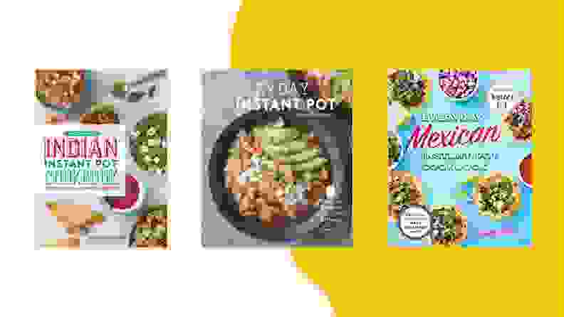 Three Instant Pot cookbooks on a colorful yellow background.