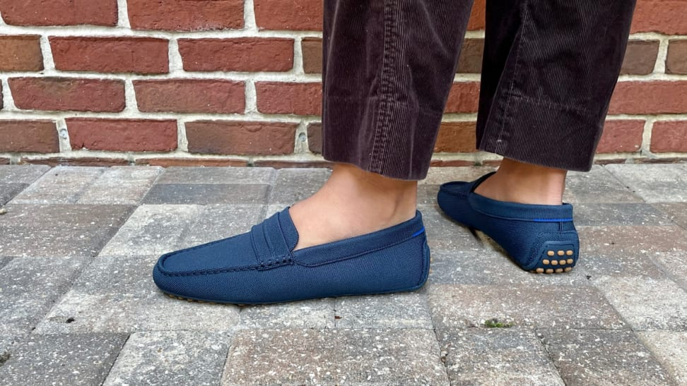 person wearing Rothy's driver loafers for men