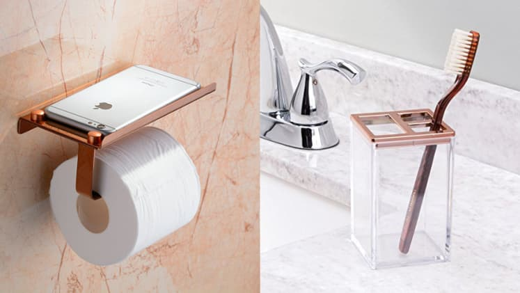 Rose Gold Accessories For Your Bathroom Reviewed - Metallic gold bathroom accessories
