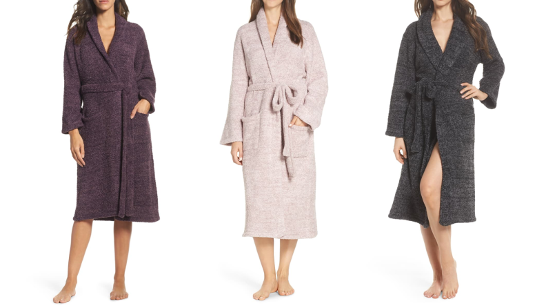Three pictures of women in fluffy robes