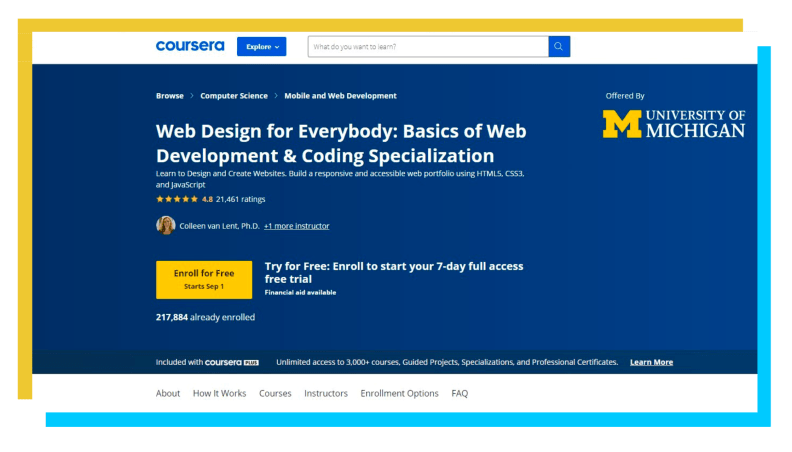 A snapshot of the Coursera webpage.