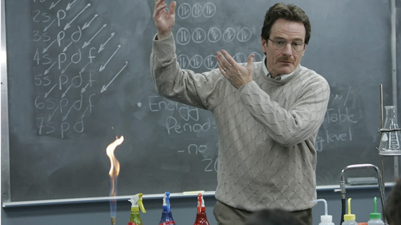 A still from Breaking Bad featuring Bryan Cranston in front of a chalkboard.