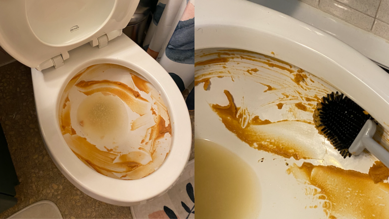 Brown gunk covers the inside of a toilet bowl.