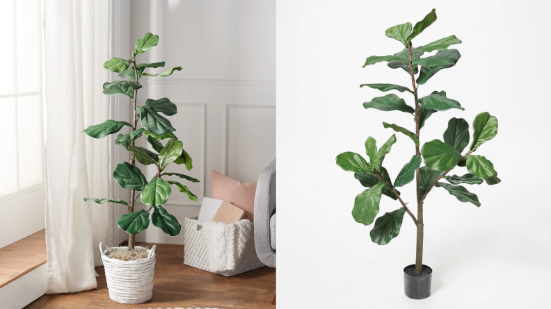 A potted faux fiddle leaf fig tree in the corner of a room.