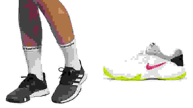 The adidas Men's GameCourt Tennis Shoes and the NikeCourt Lite 2 women's tennis shoes.