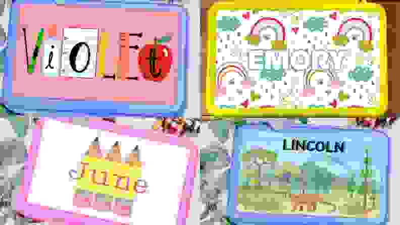 Four multi-colored pencil cases with the names