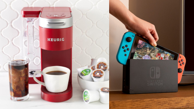 Keurig next to a Nintendo Switch