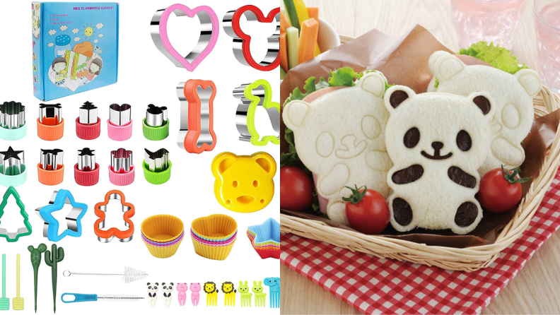 On the left, a set of sandwich cutters in the shapes of heart, animals, and other cute objects. on the right, three panda-shaped sandwiches are in a wicker basket with tomatoes.