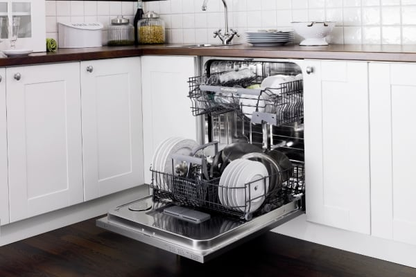 A stainless steel D5434SS dishwasher, loaded up and ready to clean.