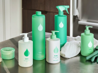 Cleaning products in green bottles.