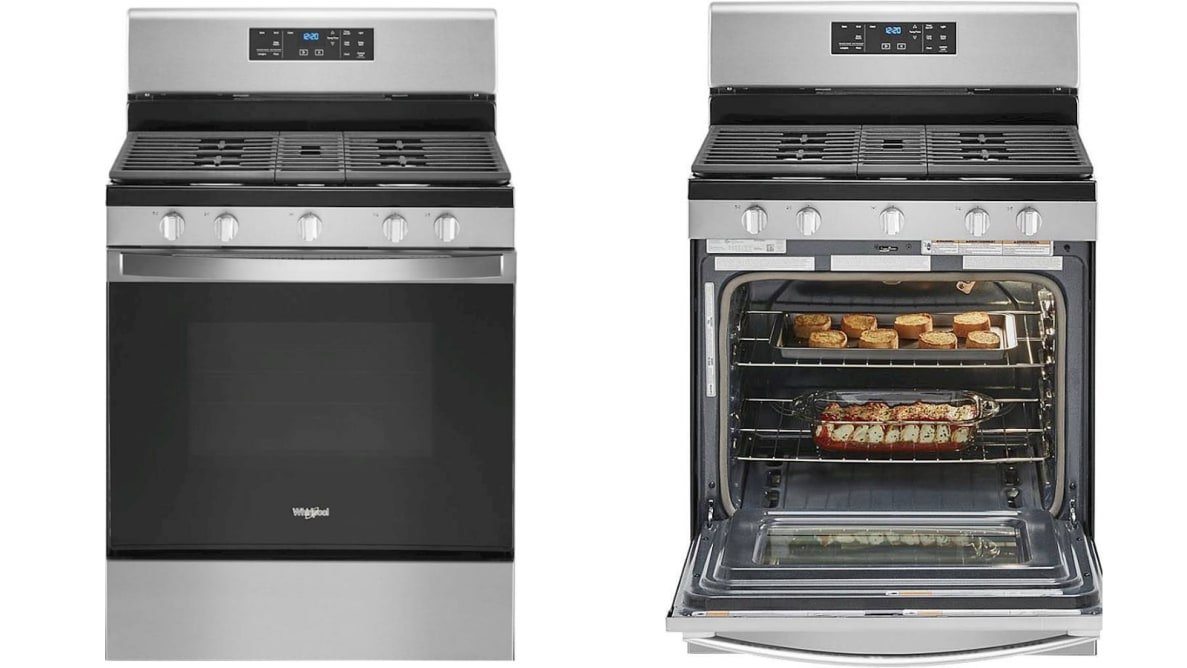 On the left, the Whirlpool WFG535S0JS gas range with its oven door closed; on the right, the Whirlpool WFG535S0JS with its oven door open and there's some bread and food on the two racks.