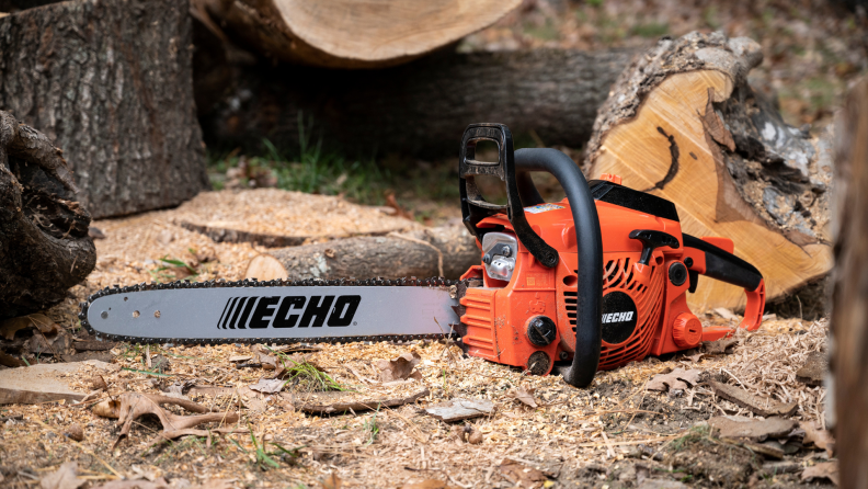 The pro-grade, 40cc Echo CS400 chainsaw is a workhorse and was powerful and heavy-duty enough to cut easily through everything we put in front of it.