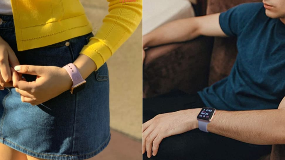 Two people wearing Apple Watches