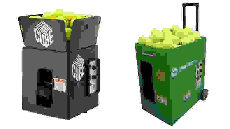 The Tennis Tutor Tennis Cube Ball Machine with Oscillation and the Spinshot Pro Tennis Ball Machine.