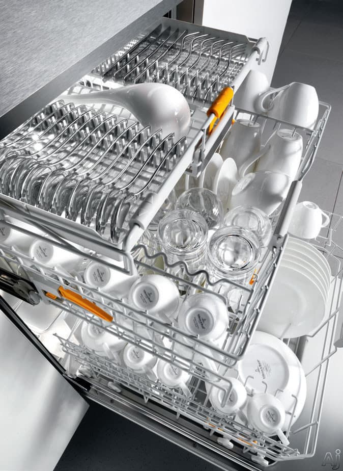 Manufacturer's render of a fully loaded dishwasher