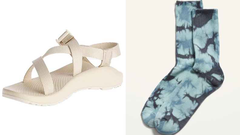 White Chaco Z1 sandals, blue tie-dye socks from Old Navy.