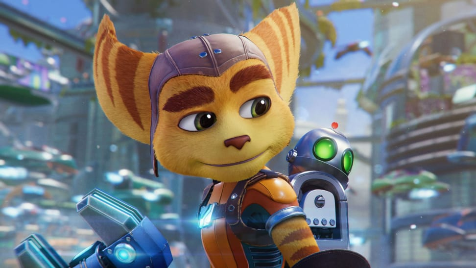 Video-game screenshot featuring Ratchet, a cat-like creature called a lombax, and his robot companion, Clank.