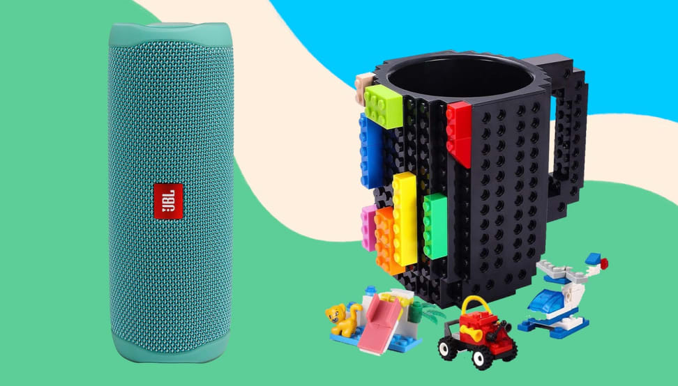 A Blutooth speaker and LEGO mug against a colorful background.