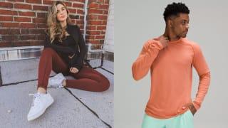 Left: Woman wearing 90 degree reflex leggings. Right: man wearing Lululemon long sleeve top.