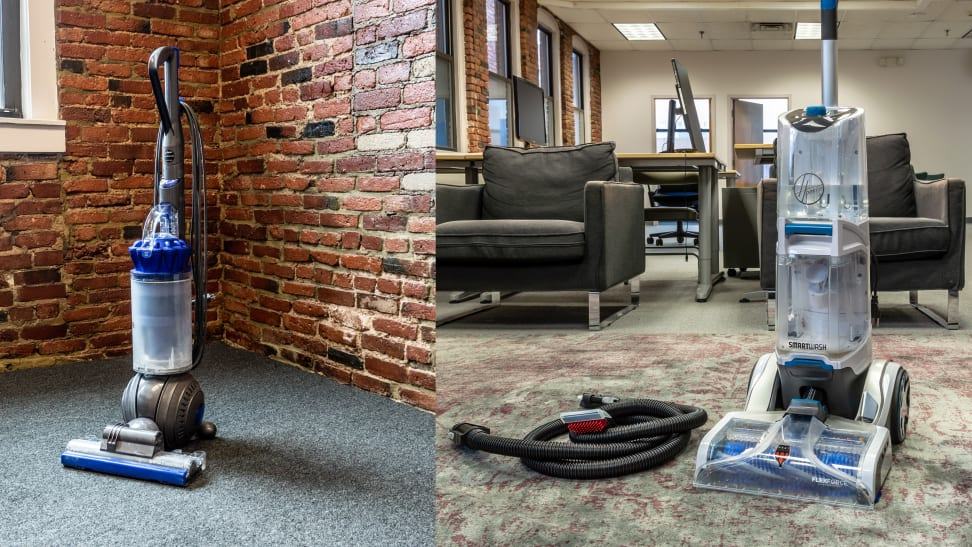 Vacuum next to carpet cleaner